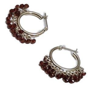 GIFT ALERT Artisian Garnet Hoop Earrings